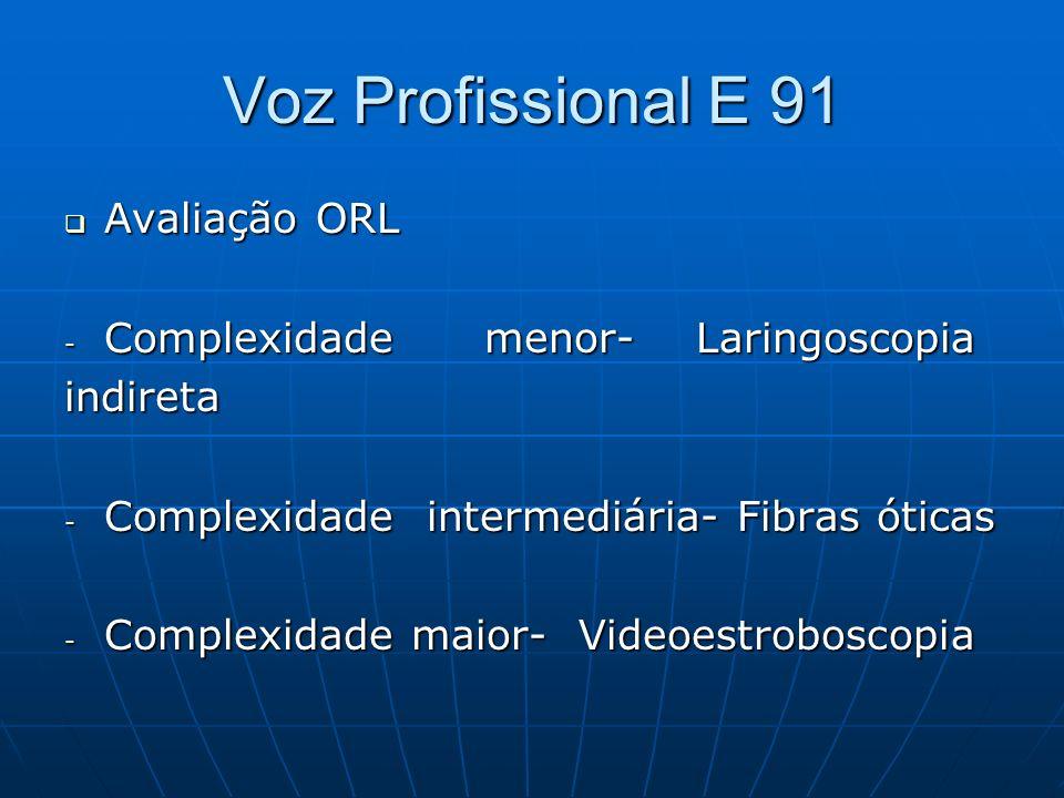 Voz Profissional E 91 Avaliação ORL Avaliação ORL - Complexidade menor- Laringoscopia indireta - Complexidade intermediária- Fibras óticas - Complexid