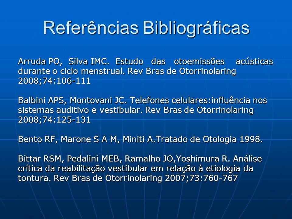 Referências Bibliográficas Arruda PO, Silva IMC. Estudo das otoemissões acústicas durante o ciclo menstrual. Rev Bras de Otorrinolaring 2008;74:106-11