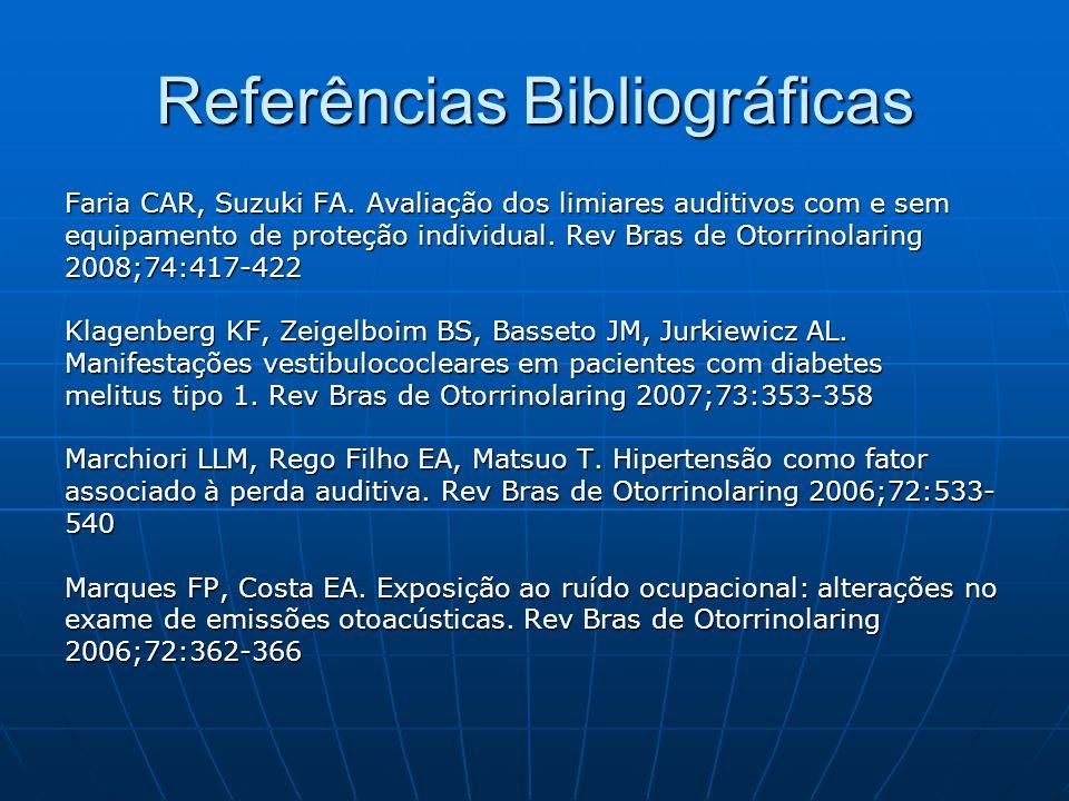 Referências Bibliográficas Faria CAR, Suzuki FA. Avaliação dos limiares auditivos com e sem equipamento de proteção individual. Rev Bras de Otorrinola