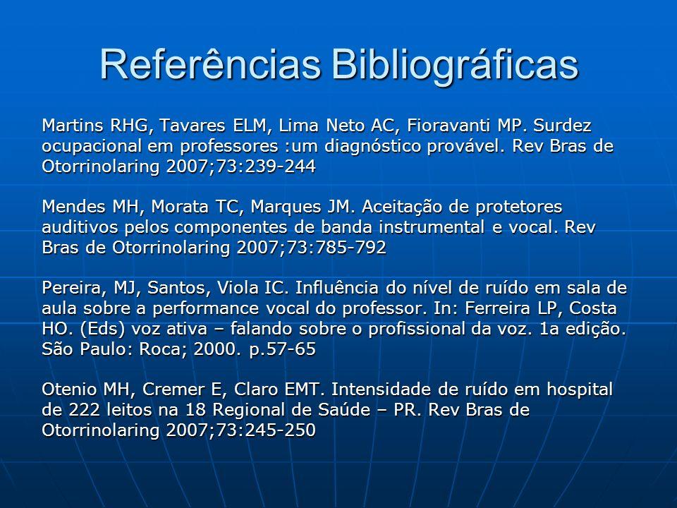Referências Bibliográficas Martins RHG, Tavares ELM, Lima Neto AC, Fioravanti MP. Surdez ocupacional em professores :um diagnóstico provável. Rev Bras