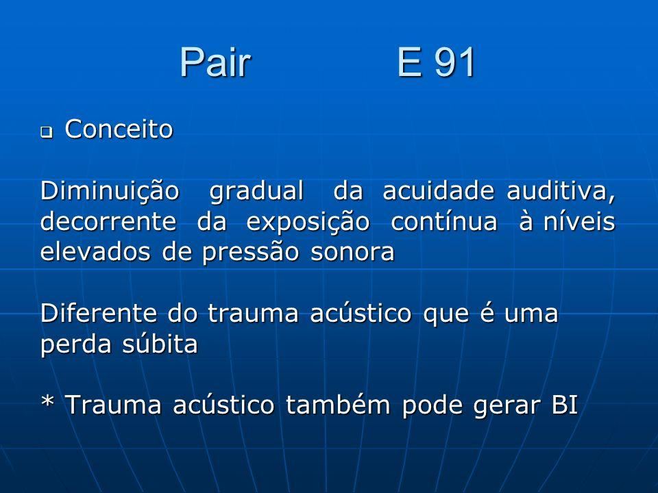 Pair E 91 Conceito Conceito Diminuição gradual da acuidade auditiva, decorrente da exposição contínua à níveis elevados de pressão sonora Diferente do