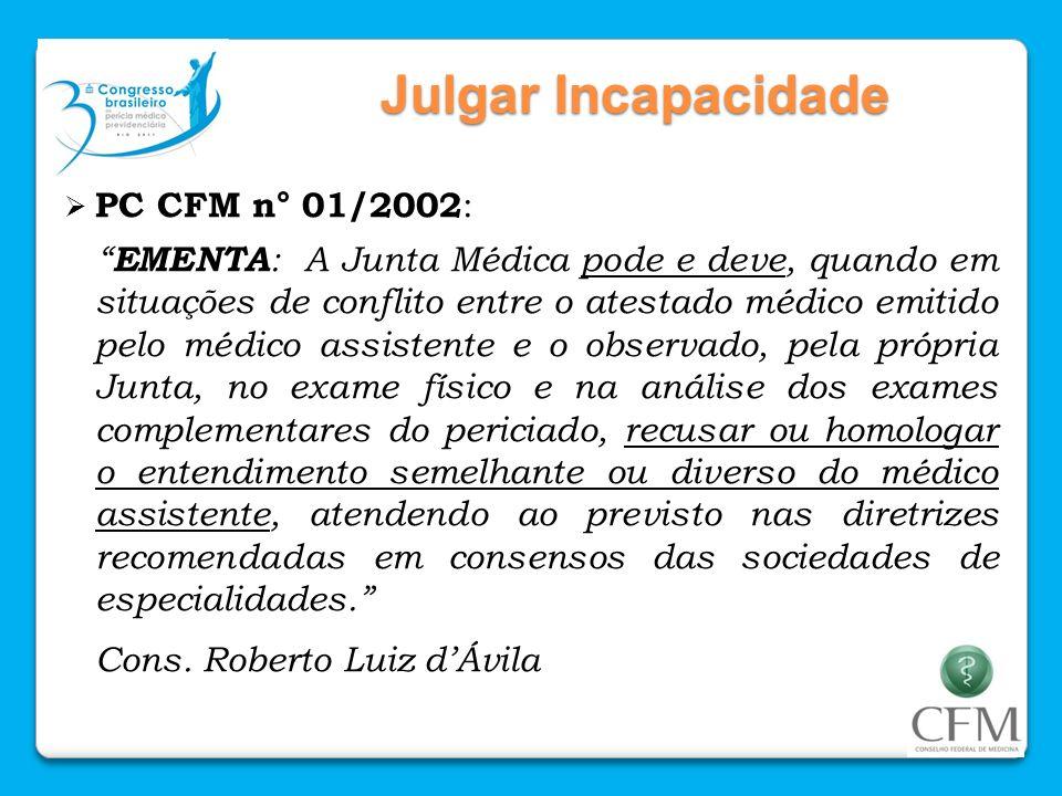 Julgar Incapacidade PC CFM n° 01/2002 : EMENTA : A Junta Médica pode e deve, quando em situações de conflito entre o atestado médico emitido pelo médi