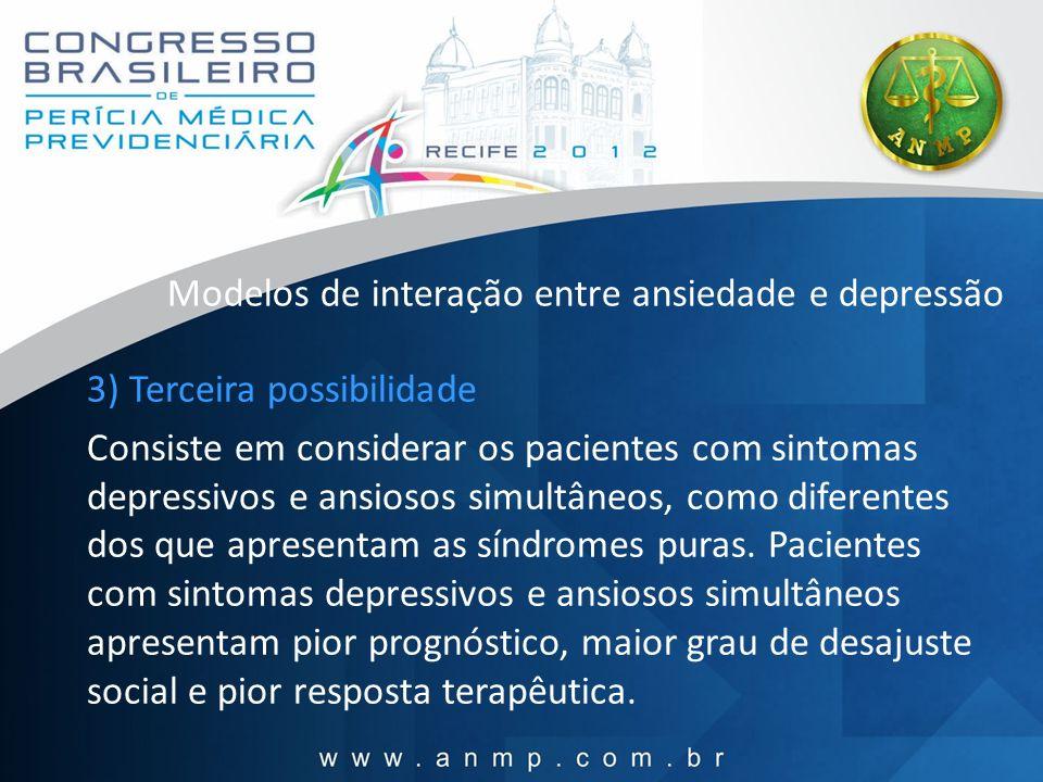 Modelos de interação entre ansiedade e depressão 3) Terceira possibilidade Consiste em considerar os pacientes com sintomas depressivos e ansiosos sim