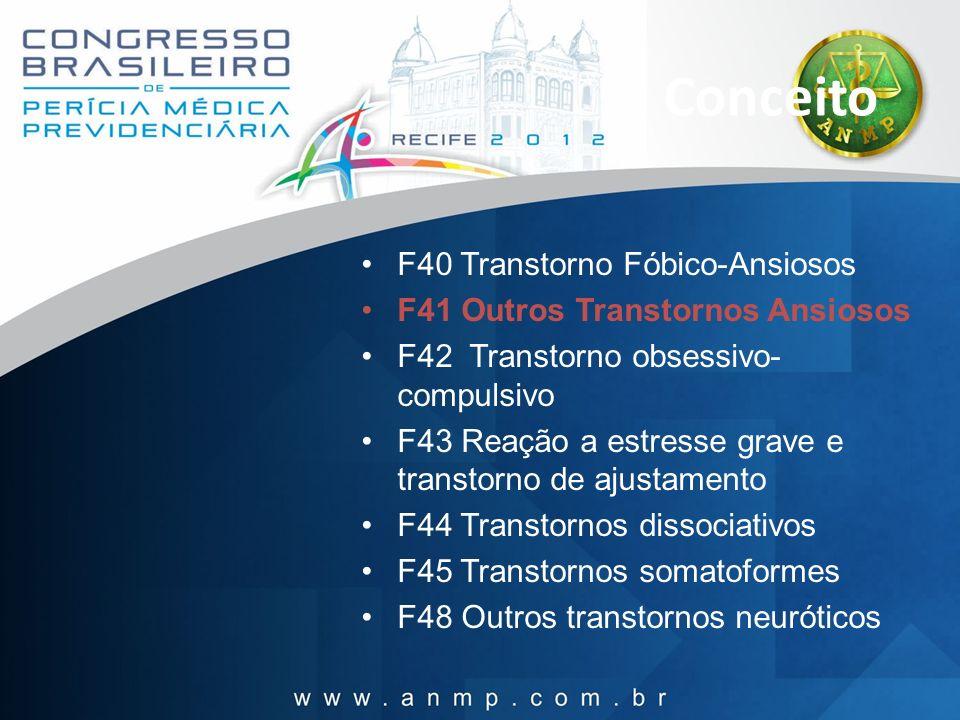 Conceito F40 Transtorno Fóbico-Ansiosos F41 Outros Transtornos Ansiosos F42 Transtorno obsessivo- compulsivo F43 Reação a estresse grave e transtorno