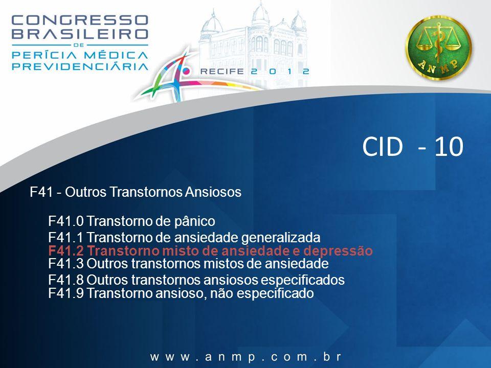 CID - 10 F41 - Outros Transtornos Ansiosos F41.0 Transtorno de pânico F41.1 Transtorno de ansiedade generalizada F41.2 Transtorno misto de ansiedade e
