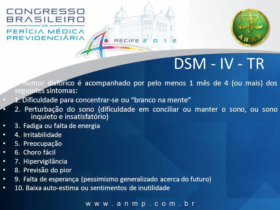DSM - IV - TR B.O humor disfórico é acompanhado por pelo menos 1 mês de 4 (ou mais) dos seguintes sintomas: 1. Dificuldade para concentrar-se ou branc