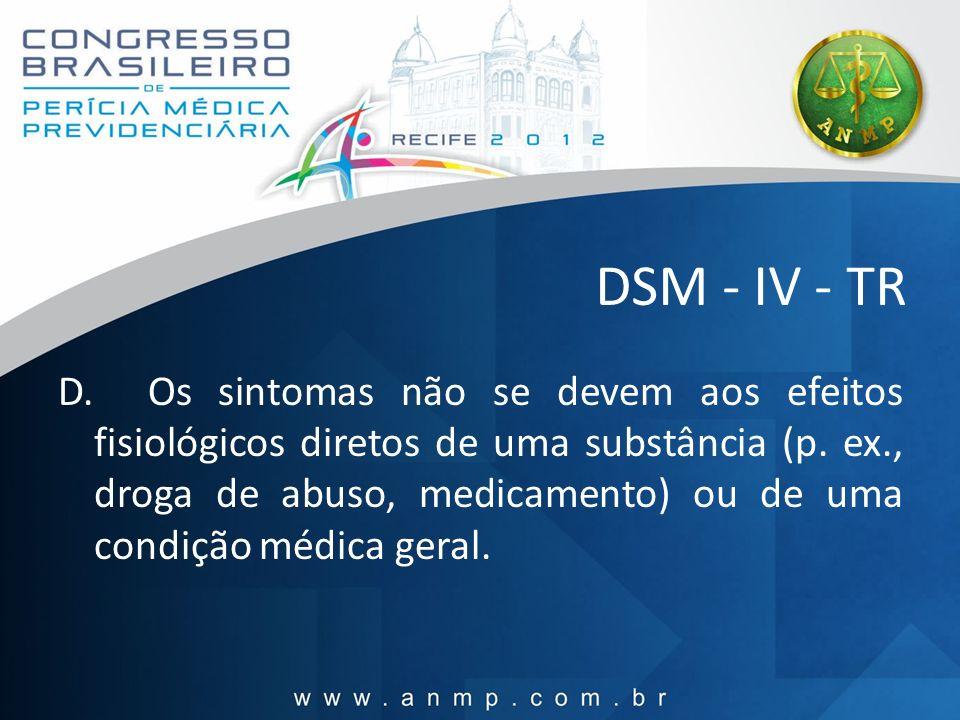 DSM - IV - TR D. Os sintomas não se devem aos efeitos fisiológicos diretos de uma substância (p. ex., droga de abuso, medicamento) ou de uma condição