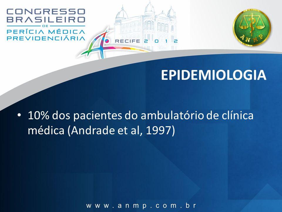 EPIDEMIOLOGIA 10% dos pacientes do ambulatório de clínica médica (Andrade et al, 1997)