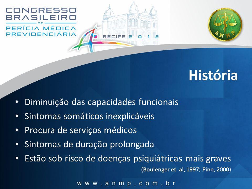História Diminuição das capacidades funcionais Sintomas somáticos inexplicáveis Procura de serviços médicos Sintomas de duração prolongada Estão sob r