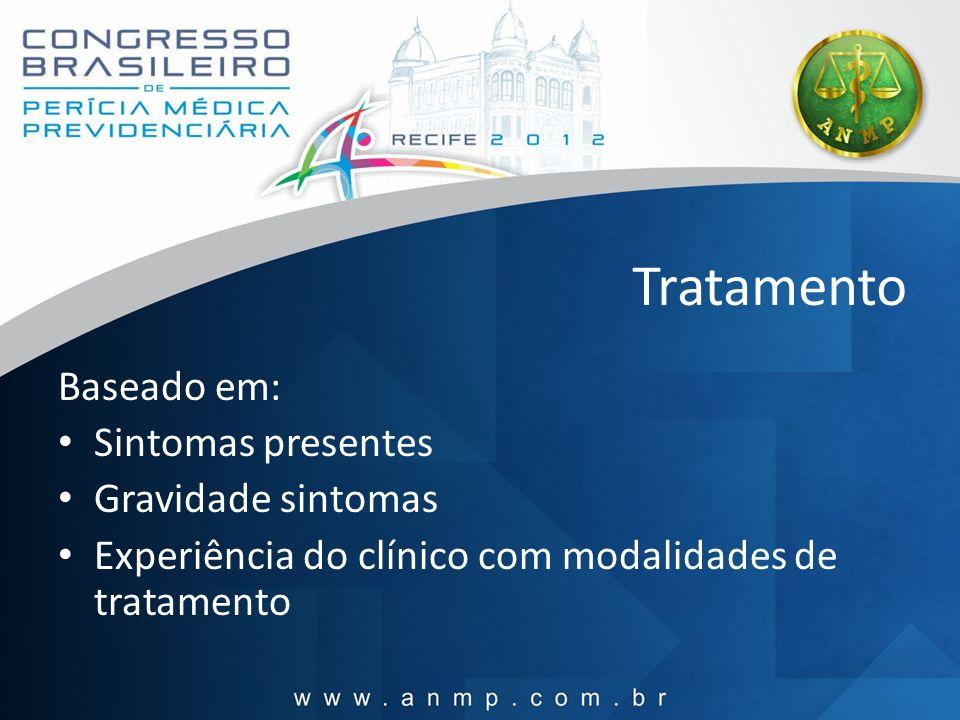 Tratamento Baseado em: Sintomas presentes Gravidade sintomas Experiência do clínico com modalidades de tratamento
