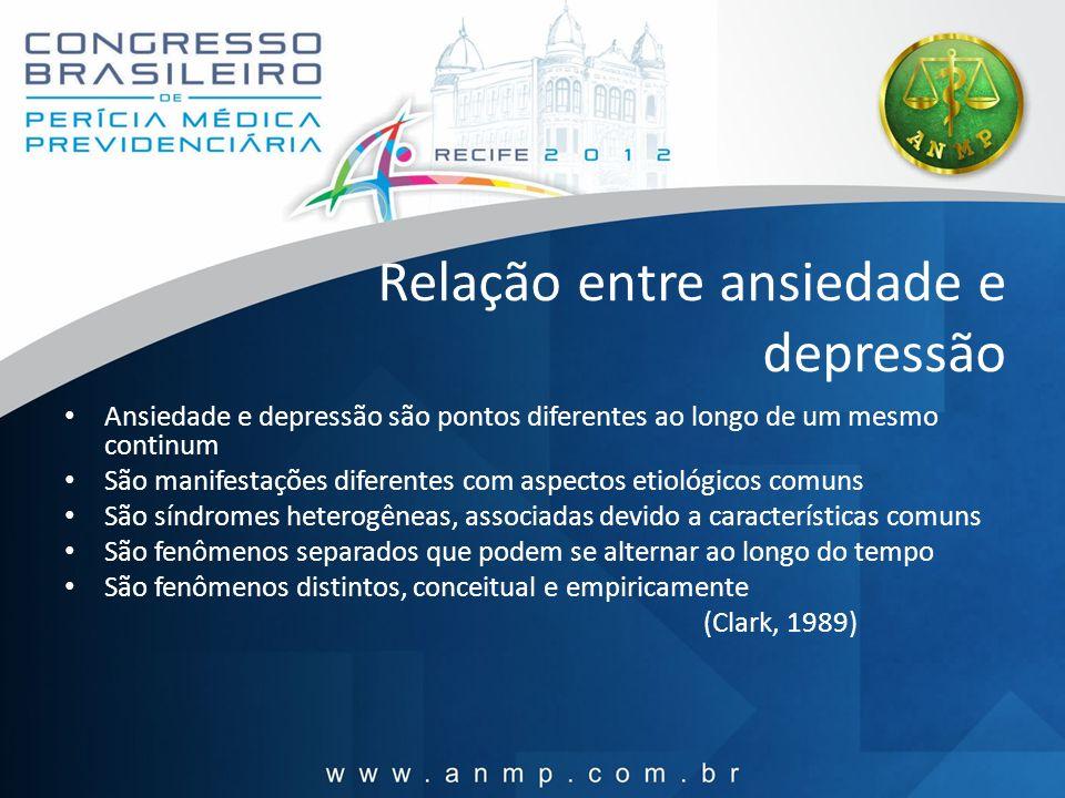 Relação entre ansiedade e depressão Ansiedade e depressão são pontos diferentes ao longo de um mesmo continum São manifestações diferentes com aspecto