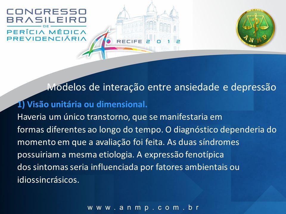 Modelos de interação entre ansiedade e depressão 1) Visão unitária ou dimensional. Haveria um único transtorno, que se manifestaria em formas diferent