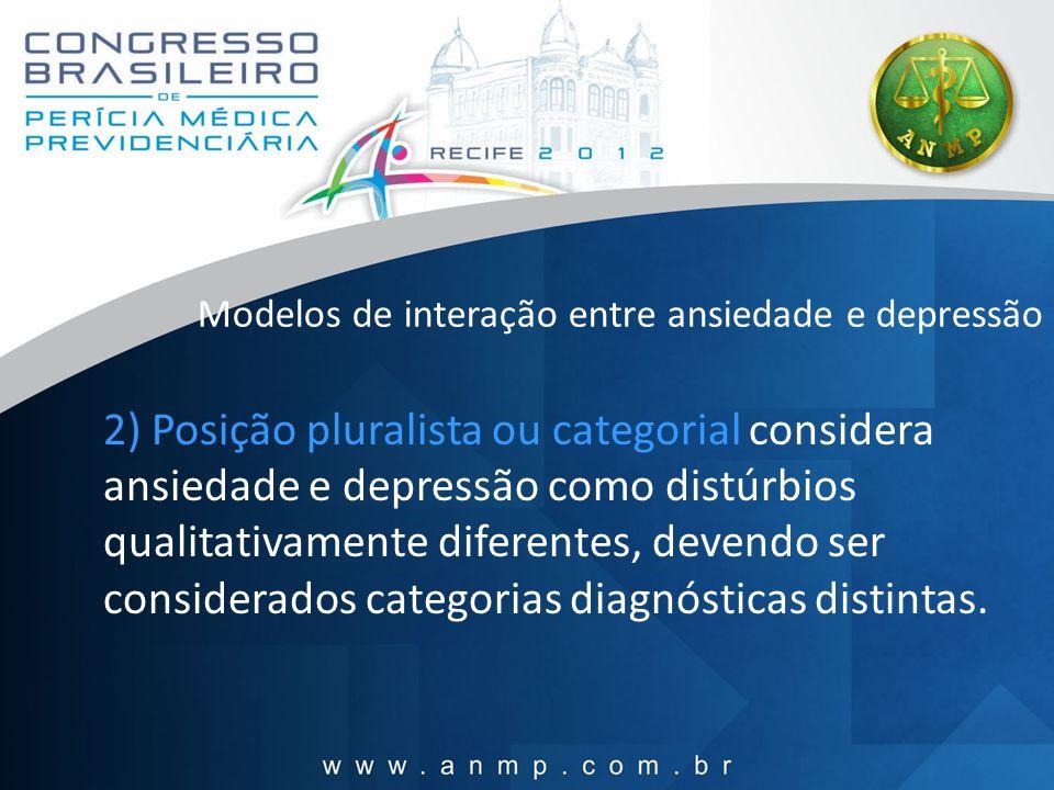 Modelos de interação entre ansiedade e depressão 2) Posição pluralista ou categorial considera ansiedade e depressão como distúrbios qualitativamente