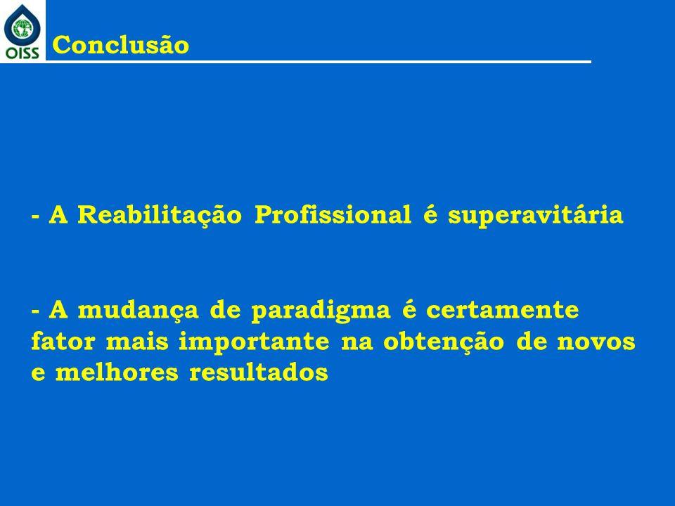 - A Reabilitação Profissional é superavitária - A mudança de paradigma é certamente fator mais importante na obtenção de novos e melhores resultados C