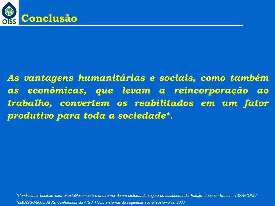 As vantagens humanitárias e sociais, como também as econômicas, que levam a reincorporação ao trabalho, convertem os reabilitados em um fator produtiv