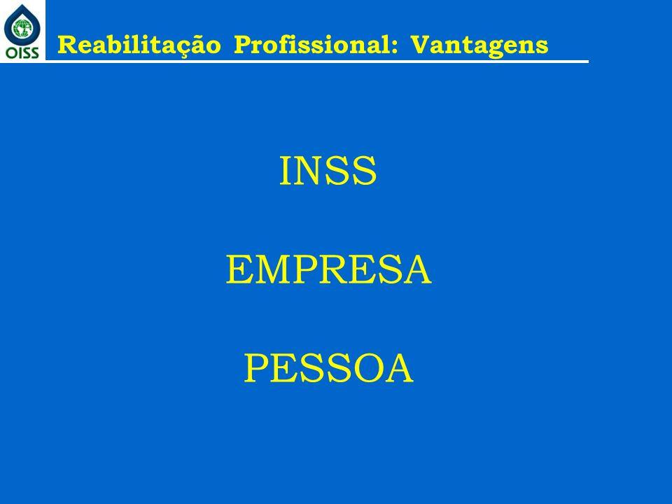 INSS EMPRESA PESSOA Reabilitação Profissional: Vantagens