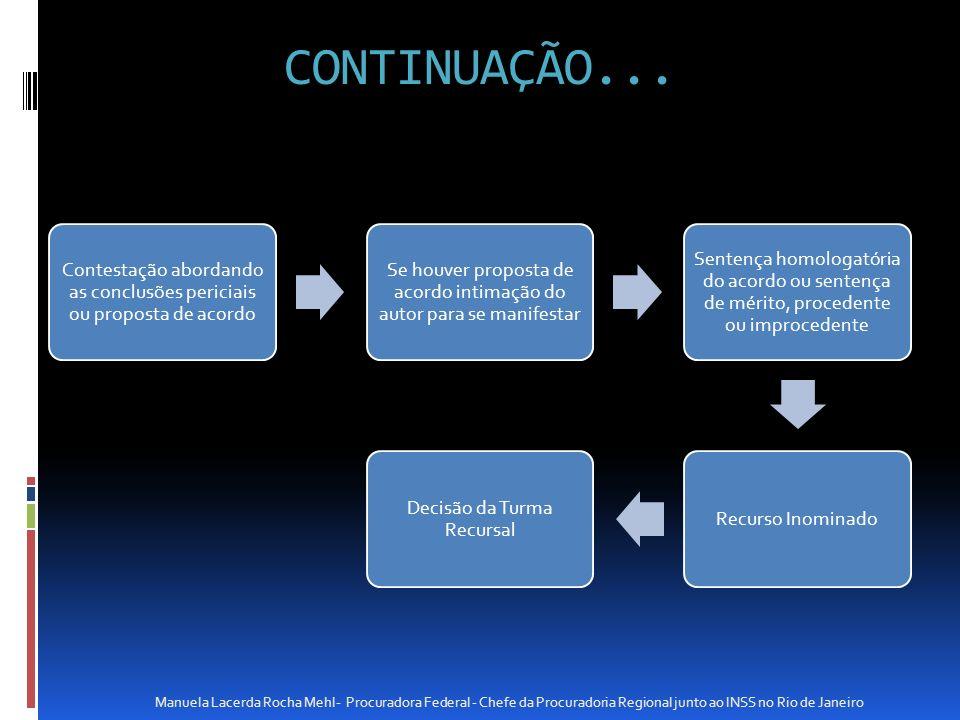 CONTINUAÇÃO... Contestação abordando as conclusões periciais ou proposta de acordo Se houver proposta de acordo intimação do autor para se manifestar