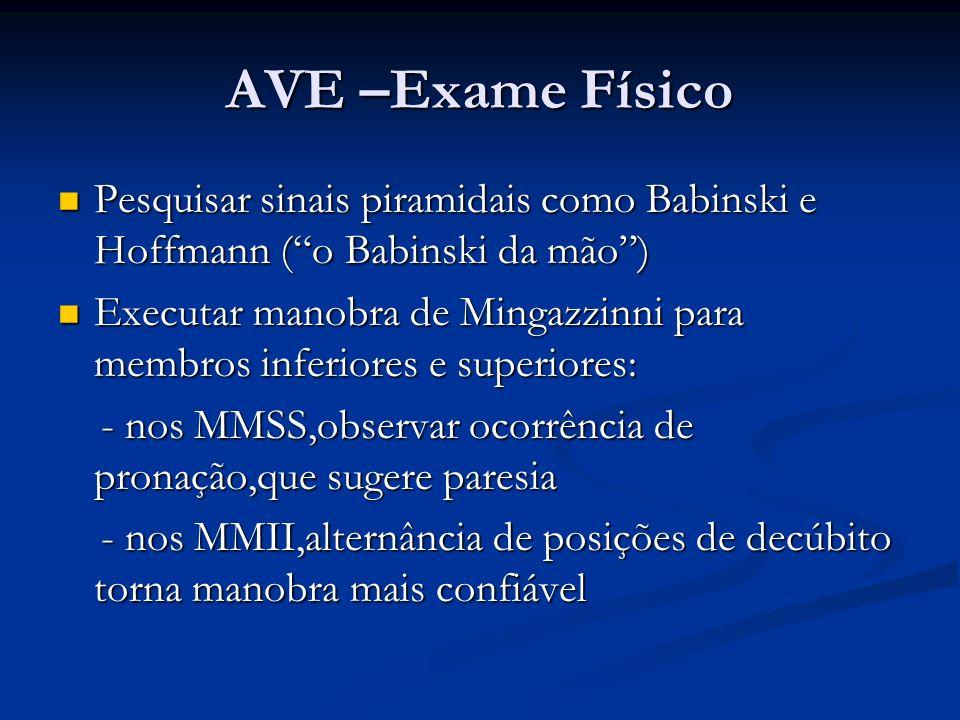 AVE –Exame Físico Pesquisar sinais piramidais como Babinski e Hoffmann (o Babinski da mão) Pesquisar sinais piramidais como Babinski e Hoffmann (o Bab