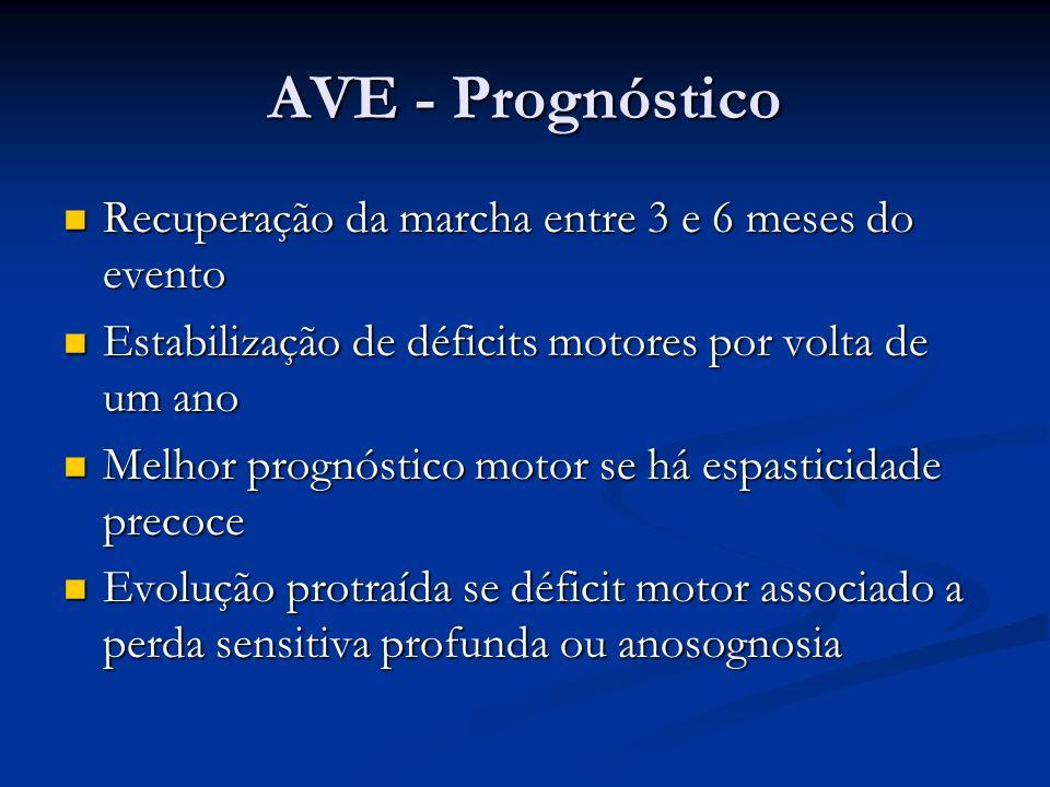 AVE - Prognóstico Recuperação da marcha entre 3 e 6 meses do evento Recuperação da marcha entre 3 e 6 meses do evento Estabilização de déficits motore