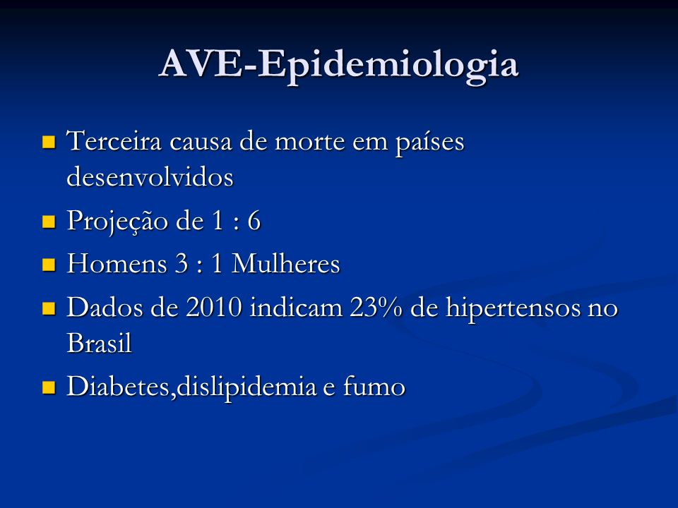 AVE-Epidemiologia Terceira causa de morte em países desenvolvidos Terceira causa de morte em países desenvolvidos Projeção de 1 : 6 Projeção de 1 : 6