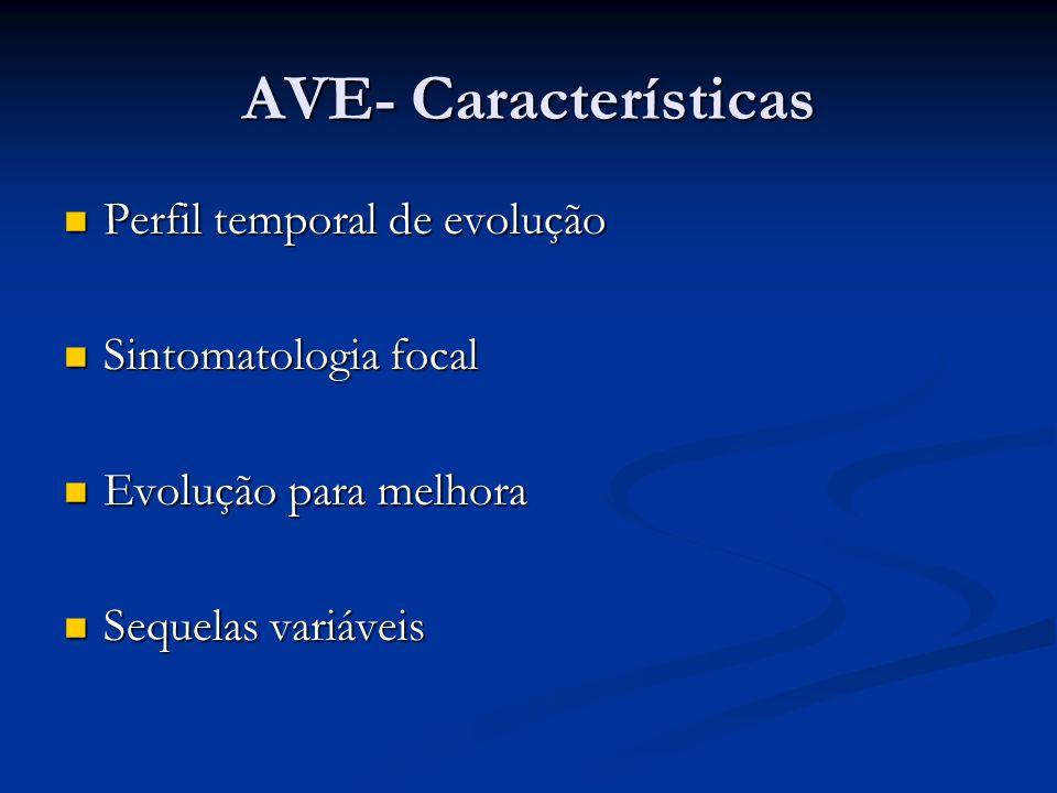 AVE- Características Perfil temporal de evolução Perfil temporal de evolução Sintomatologia focal Sintomatologia focal Evolução para melhora Evolução