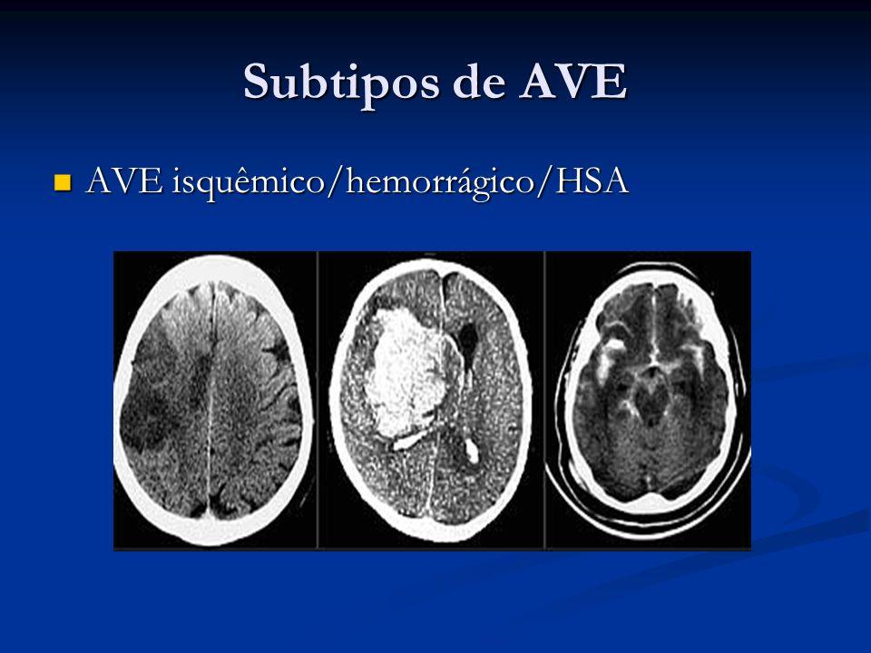 Subtipos de AVE AVE isquêmico/hemorrágico/HSA AVE isquêmico/hemorrágico/HSA