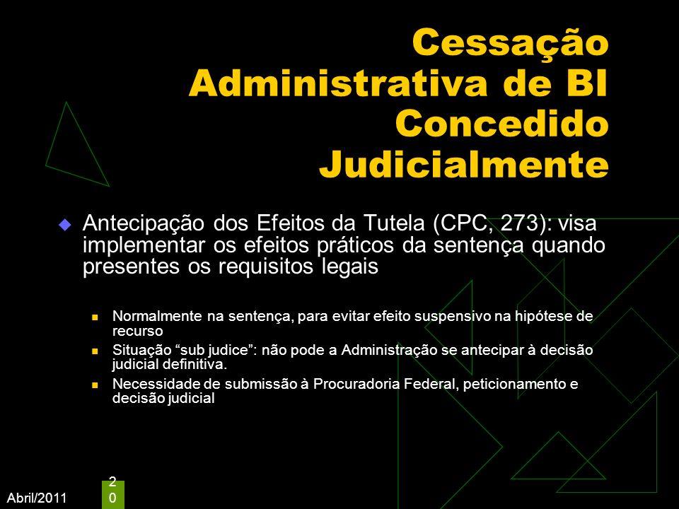 Abril/2011 20 Cessação Administrativa de BI Concedido Judicialmente Antecipação dos Efeitos da Tutela (CPC, 273): visa implementar os efeitos práticos