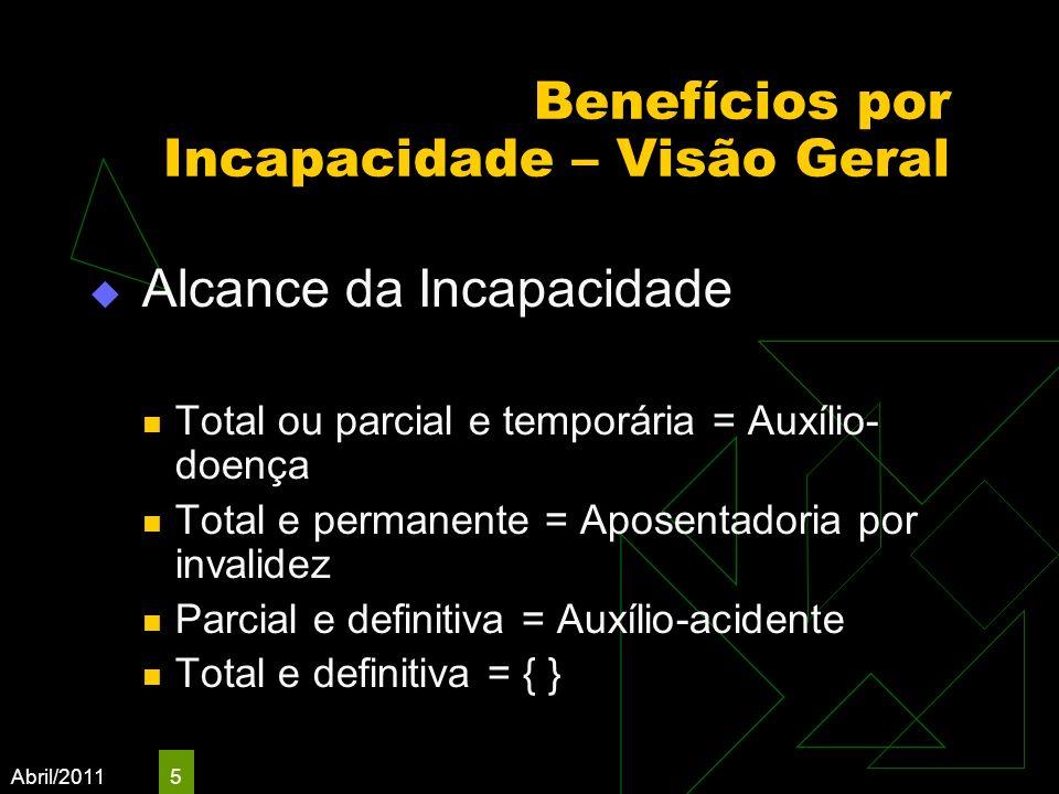 Abril/2011 5 Benefícios por Incapacidade – Visão Geral Alcance da Incapacidade Total ou parcial e temporária = Auxílio- doença Total e permanente = Ap