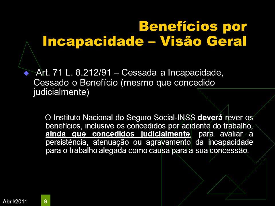 Abril/2011 9 Benefícios por Incapacidade – Visão Geral Art. 71 L. 8.212/91 – Cessada a Incapacidade, Cessado o Benefício (mesmo que concedido judicial