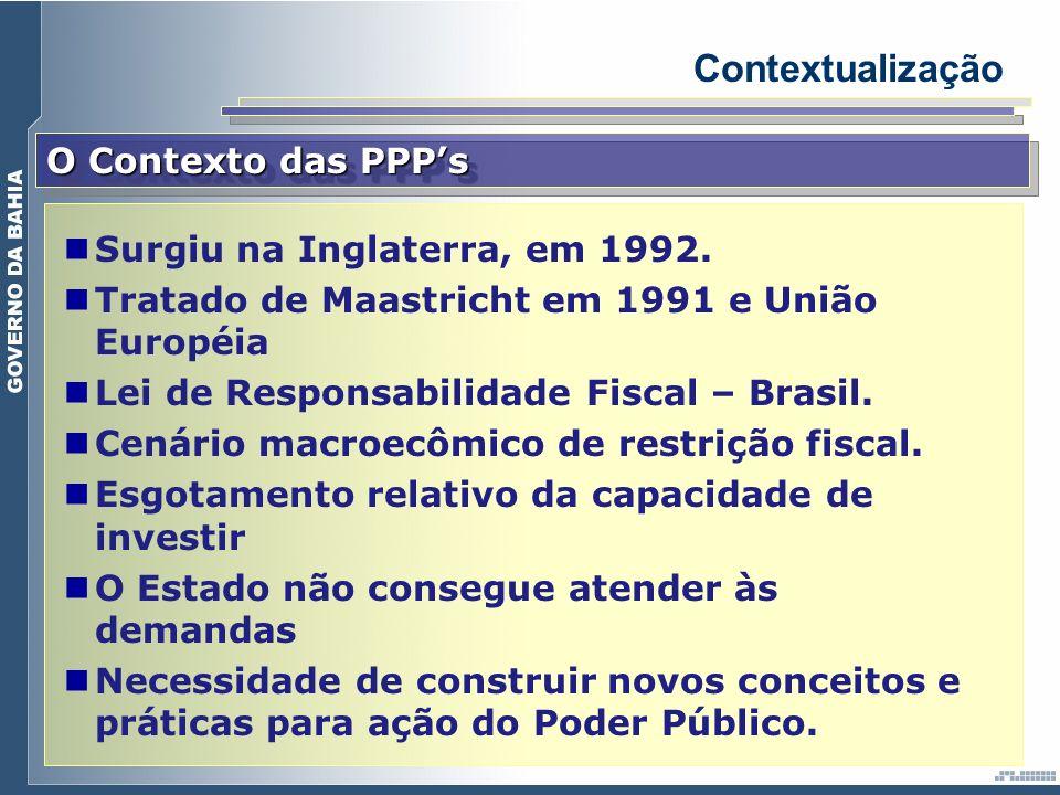 O Contexto das PPPs Contextualização Surgiu na Inglaterra, em 1992. Tratado de Maastricht em 1991 e União Européia Lei de Responsabilidade Fiscal – Br
