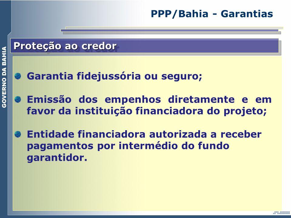 Proteção ao credor Garantia fidejussória ou seguro; Emissão dos empenhos diretamente e em favor da instituição financiadora do projeto; Entidade finan
