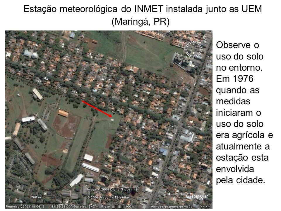 Estação meteorológica do INMET instalada junto as UEM (Maringá, PR) Observe o uso do solo no entorno. Em 1976 quando as medidas iniciaram o uso do sol