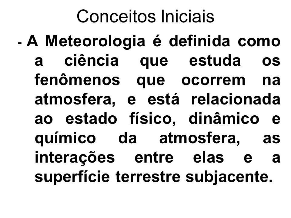 Conceitos Iniciais - A Meteorologia é definida como a ciência que estuda os fenômenos que ocorrem na atmosfera, e está relacionada ao estado físico, d
