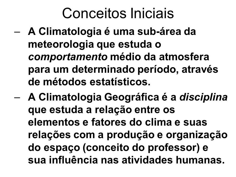 Conceitos Iniciais –A Climatologia é uma sub-área da meteorologia que estuda o comportamento médio da atmosfera para um determinado período, através d