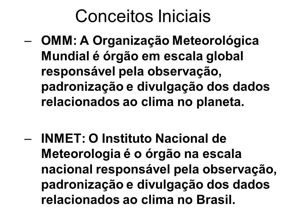Conceitos Iniciais –OMM: A Organização Meteorológica Mundial é órgão em escala global responsável pela observação, padronização e divulgação dos dados