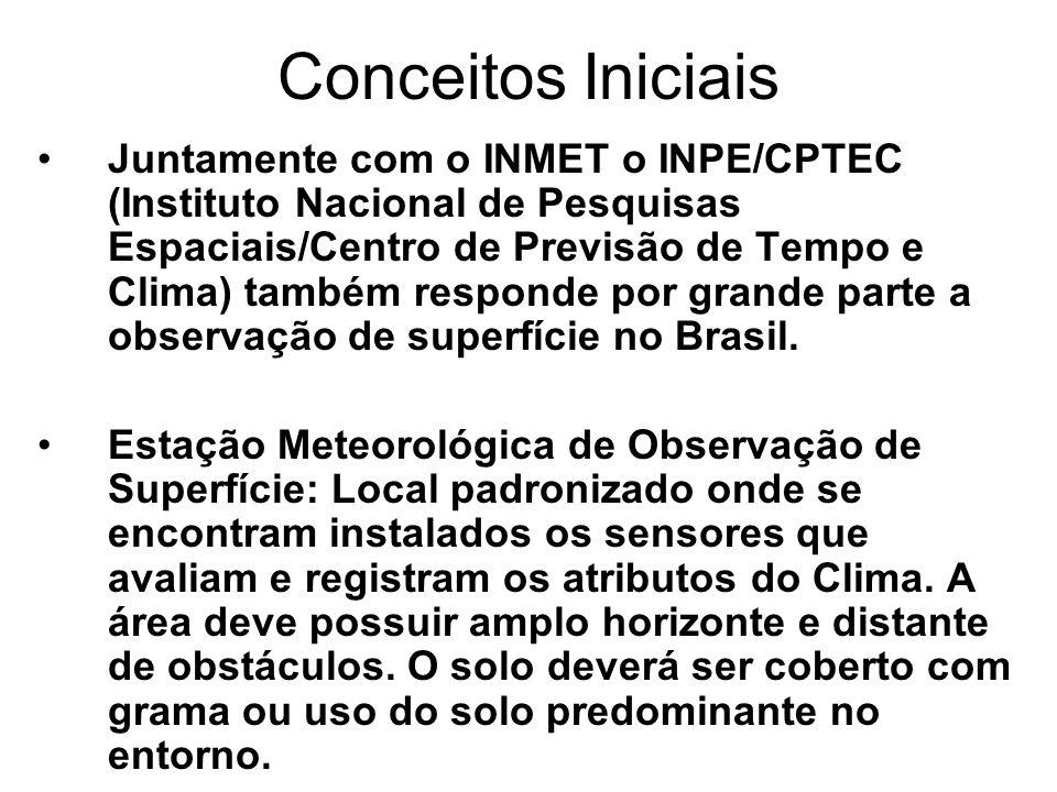 Conceitos Iniciais Juntamente com o INMET o INPE/CPTEC (Instituto Nacional de Pesquisas Espaciais/Centro de Previsão de Tempo e Clima) também responde