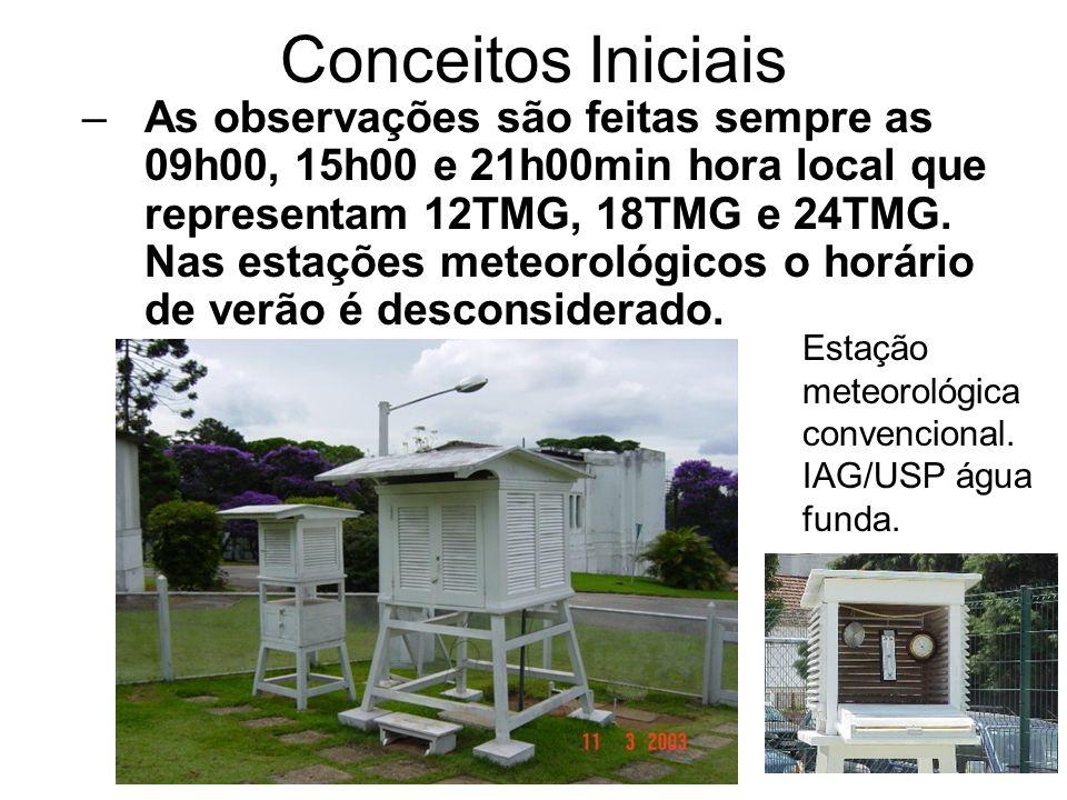 Conceitos Iniciais –As observações são feitas sempre as 09h00, 15h00 e 21h00min hora local que representam 12TMG, 18TMG e 24TMG. Nas estações meteorol