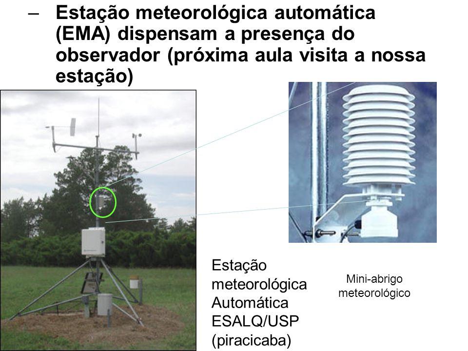 –Estação meteorológica automática (EMA) dispensam a presença do observador (próxima aula visita a nossa estação) Estação meteorológica Automática ESAL