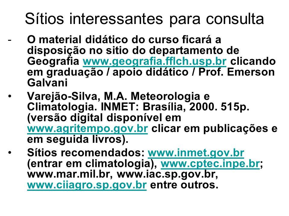 Sítios interessantes para consulta -O material didático do curso ficará a disposição no sitio do departamento de Geografia www.geografia.fflch.usp.br