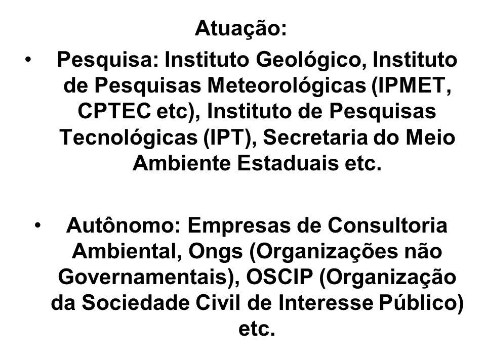 Atuação: Pesquisa: Instituto Geológico, Instituto de Pesquisas Meteorológicas (IPMET, CPTEC etc), Instituto de Pesquisas Tecnológicas (IPT), Secretari
