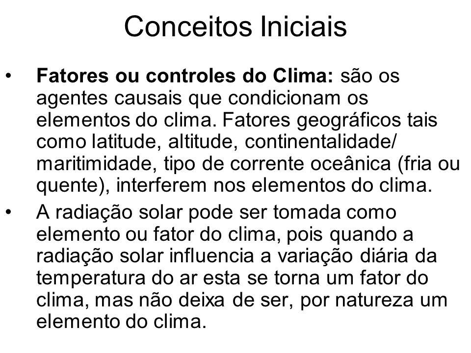 Conceitos Iniciais Fatores ou controles do Clima: são os agentes causais que condicionam os elementos do clima. Fatores geográficos tais como latitude