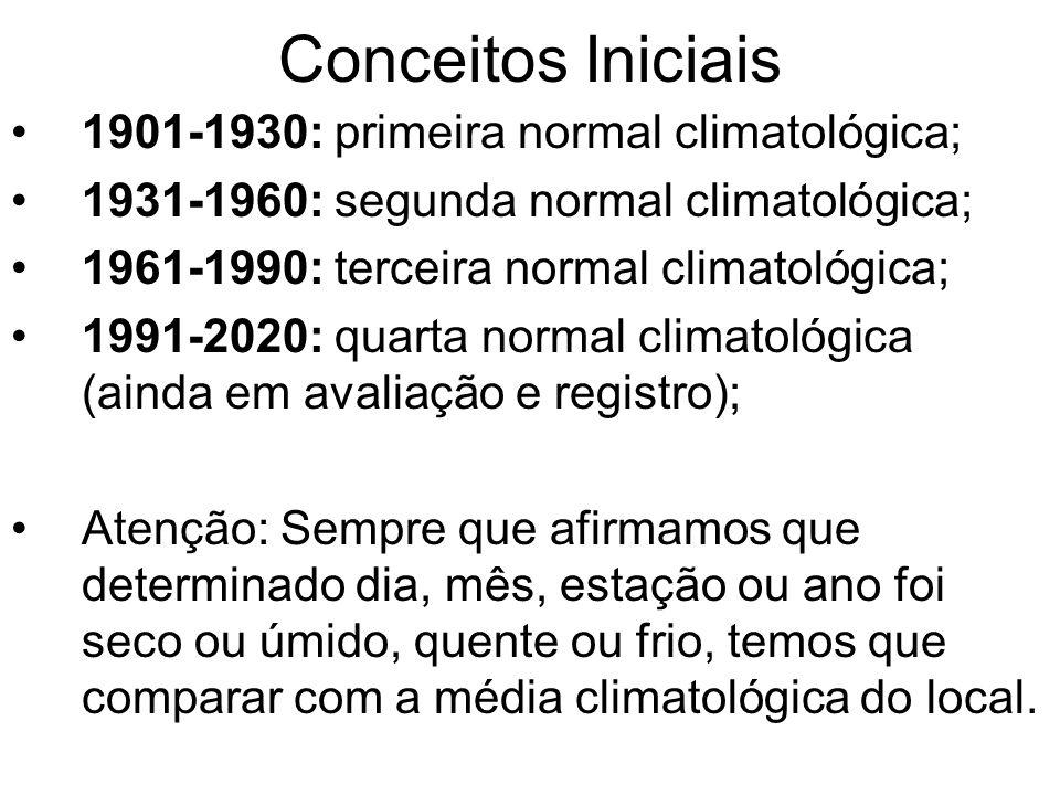 Conceitos Iniciais 1901-1930: primeira normal climatológica; 1931-1960: segunda normal climatológica; 1961-1990: terceira normal climatológica; 1991-2