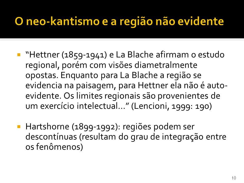 Hettner (1859-1941) e La Blache afirmam o estudo regional, porém com visões diametralmente opostas.