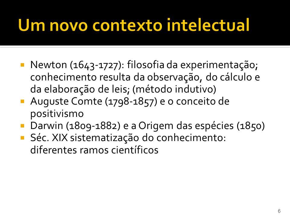 Newton (1643-1727): filosofia da experimentação; conhecimento resulta da observação, do cálculo e da elaboração de leis; (método indutivo) Auguste Comte (1798-1857) e o conceito de positivismo Darwin (1809-1882) e a Origem das espécies (1850) Séc.
