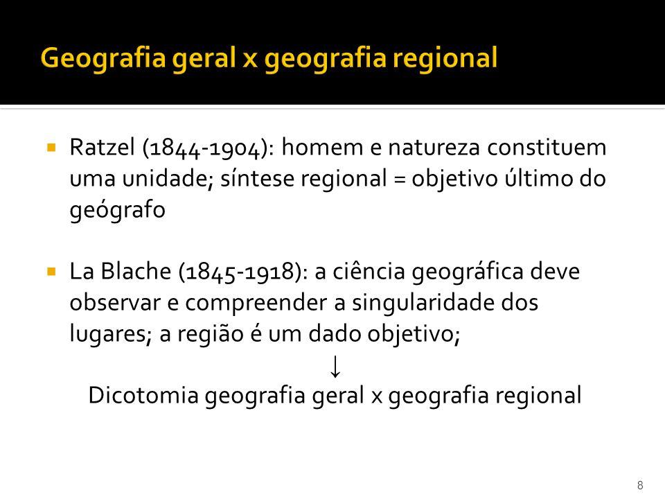 Ratzel (1844-1904): homem e natureza constituem uma unidade; síntese regional = objetivo último do geógrafo La Blache (1845-1918): a ciência geográfica deve observar e compreender a singularidade dos lugares; a região é um dado objetivo; Dicotomia geografia geral x geografia regional 8