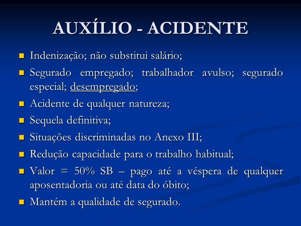 AUXÍLIO - ACIDENTE Indenização; não substitui salário; Indenização; não substitui salário; Segurado empregado; trabalhador avulso; segurado especial;