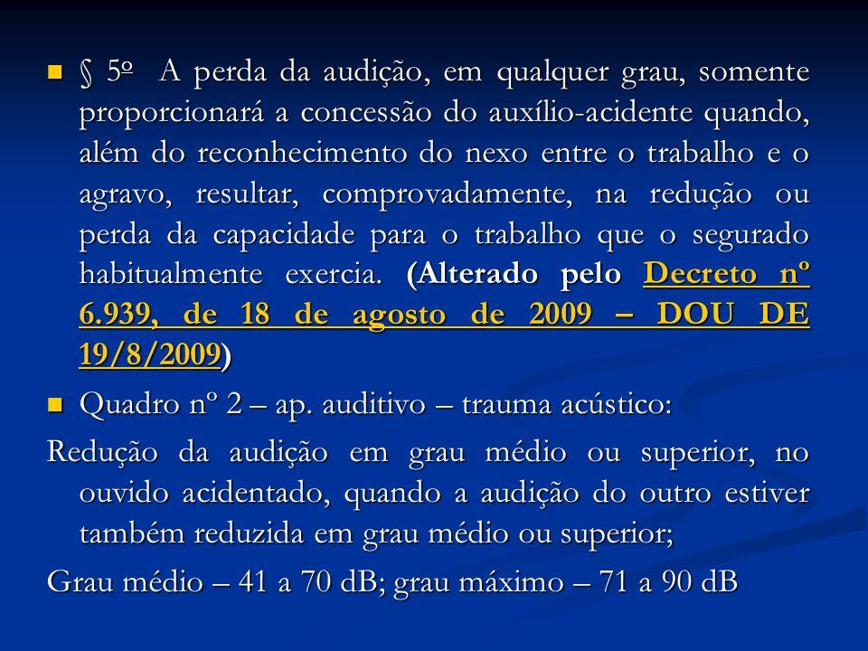 § 5 o A perda da audição, em qualquer grau, somente proporcionará a concessão do auxílio-acidente quando, além do reconhecimento do nexo entre o traba