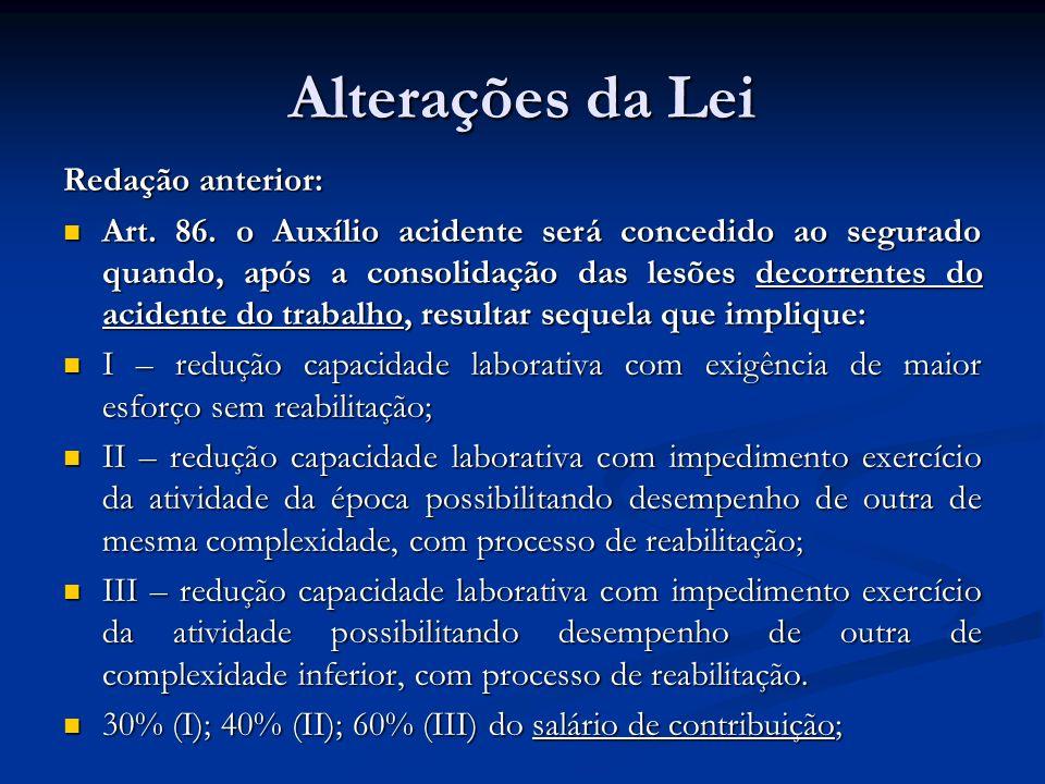 Alterações da Lei Redação anterior: Art. 86. o Auxílio acidente será concedido ao segurado quando, após a consolidação das lesões decorrentes do acide