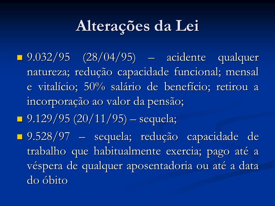 Alterações da Lei 9.032/95 (28/04/95) – acidente qualquer natureza; redução capacidade funcional; mensal e vitalício; 50% salário de benefício; retiro