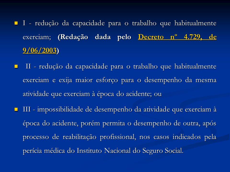 I - redução da capacidade para o trabalho que habitualmente exerciam; (Redação dada pelo Decreto nº 4.729, de 9/06/2003) I - redução da capacidade par